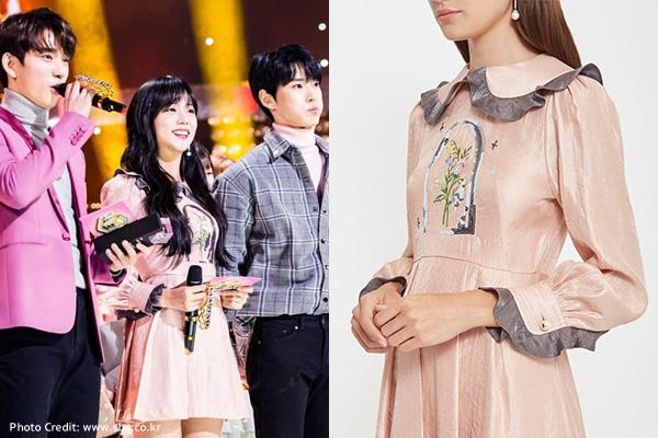 จีซู สวมชุด MY ROSE MIDI LENGTH DRESS จากแบรนด์ Sretsis ราคา 19,900 บาท